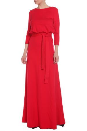 Полуприлегающее платье с поясом La Reine Blanche. Цвет: красный
