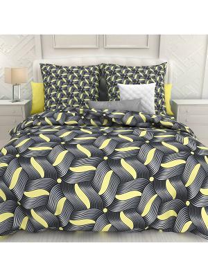 Комплект постельного белья Евро биоматин (нав.трансформер) Panamera Унисон. Цвет: серебристый, темно-бежевый, черный