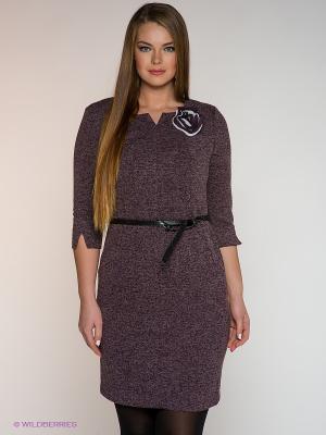 Платье Amelia Lux. Цвет: сливовый, белый
