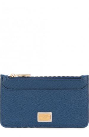 Кожаный футляр для кредитных карт с отделением на молнии Dolce & Gabbana. Цвет: синий