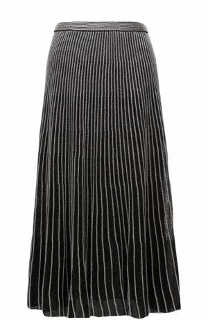 Плиссированная юбка-миди из шелка Proenza Schouler. Цвет: серебряный