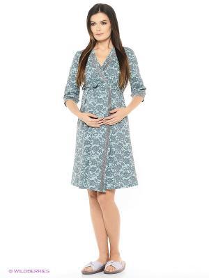 Халат для беременных ФЭСТ. Цвет: бирюзовый, серый
