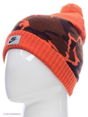 Шапка NSW CAMO POM BEANIE Nike. Цвет: оранжевый