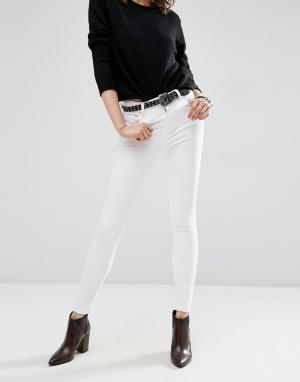 ASOS Белые джинсы скинни с завышенной талией DESIGN Ridley. Цвет: белый
