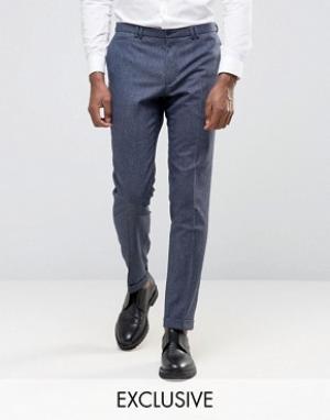 Noak Суперзауженные брюки с отворотами. Цвет: темно-синий