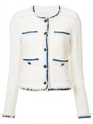 Пиджак с контрастной окантовкой Veronica Beard. Цвет: белый