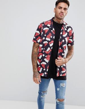 LDN DNM Рубашка в новогоднем стиле с короткими рукавами. Цвет: черный