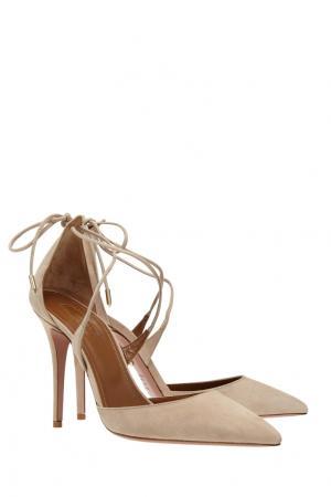 Замшевые туфли Matilde Aquazzura. Цвет: бежевый