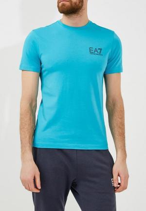 Футболка EA7. Цвет: голубой