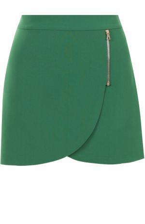 Мини-юбка асимметричного кроя Alice + Olivia. Цвет: зеленый