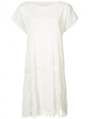 Платье A-Poc Motion Pleats Please By Issey Miyake. Цвет: белый