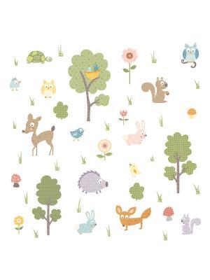 Наклейки для декора. Лесные звери ROOMMATES. Цвет: зеленый, белый, голубой, желтый, красный, оранжевый, серый, синий, черный