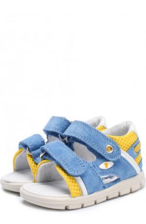 Замшевые сандалии с застежками велькро Falcotto. Цвет: голубой