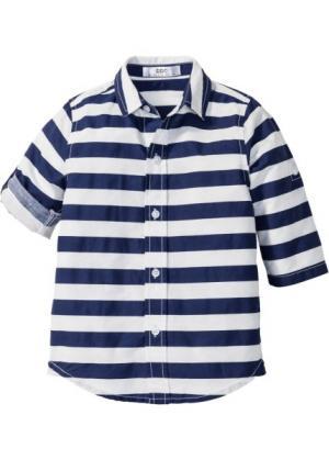 Рубашка в поперечную полоску (ночная синь/белый полоску) bonprix. Цвет: ночная синь/белый в полоску