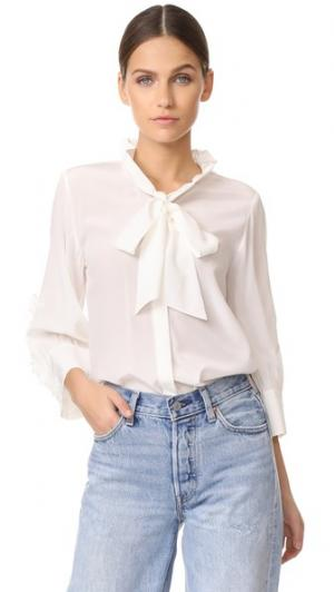 Шелковая блуза с оборками Edition10. Цвет: белый