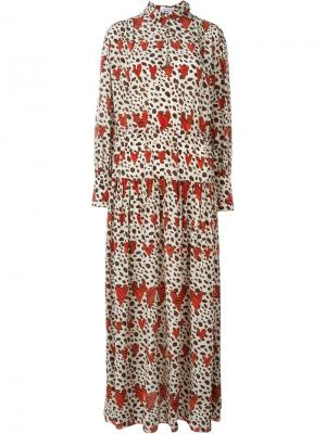 Длинное платье-рубашка Leopard Heart Ryan Lo. Цвет: красный