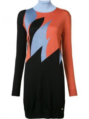 Вязаное платье-водолазка Vionnet. Цвет: жёлтый и оранжевый