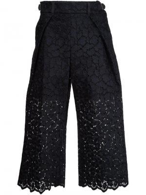 Укороченные кружевные брюки Sacai. Цвет: чёрный