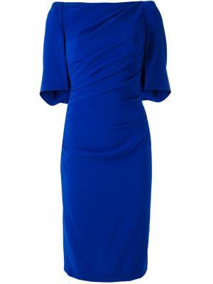 Платье с присборенными деталями Talbot Runhof. Цвет: синий