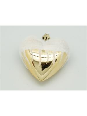 Украшение подвесное из пластика сердце золотое со снегом арт.16007  (ДШВ 0,07Х0,28Х0,02 м.) Яркий Праздник. Цвет: золотистый