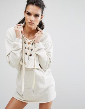 Kendall + Kylie Платье-свитшот с длинными рукавами. Цвет: кремовый