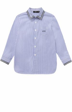 Хлопковая рубашка в полоску с контрастной окантовкой No. 21. Цвет: голубой