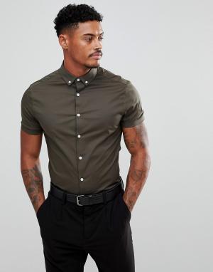 ASOS Приталенная рубашка цвета хаки с короткими рукавами и воротником на пу. Цвет: черный