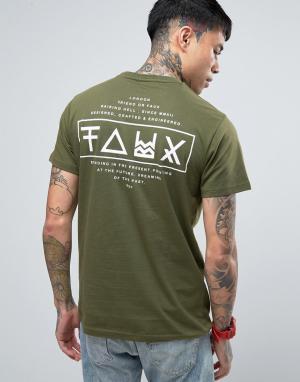 Friend or Faux Футболка с принтом на спине Limitless. Цвет: зеленый