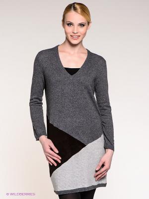 Платье Stefanel. Цвет: темно-серый, серый меланж, темно-коричневый