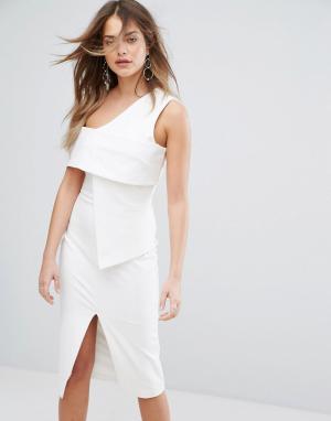 Lavish Alice Асимметричное платье миди. Цвет: белый