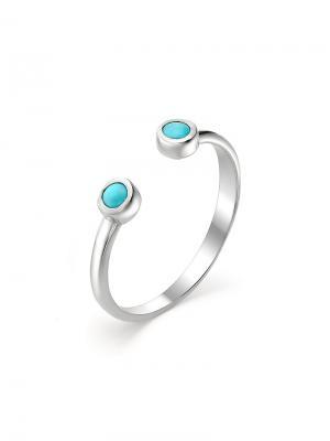 Фаланговое разъемное кольцо KU&KU. Цвет: серебристый, бирюзовый
