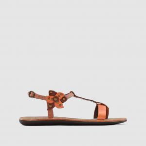 Сандалии кожаные на низком каблуке Spartflower KICKERS. Цвет: каштановый / оранжевый,черный/ синий