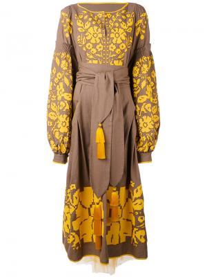 Платье Porcelain Bouquet Yuliya Magdych. Цвет: коричневый