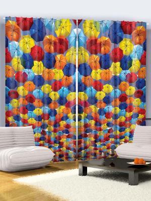 Комплект фотоштор для гостиной Яркие зонтики, плотность ткани 175 г/кв.м, 290*265 см Magic Lady. Цвет: оранжевый, желтый, синий, голубой