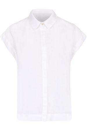 Льняная блуза прямого кроя с коротким рукавом 120% Lino. Цвет: белый