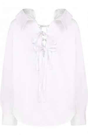 Однотонная хлопковая блуза с бантами Clu. Цвет: белый