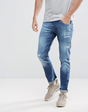 Voi Jeans Суженные книзу джинсы. Цвет: синий