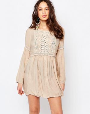 Melissa Odabash Пляжное платье с вышивкой. Цвет: бежевый