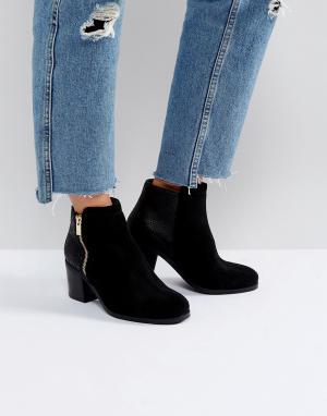 Carvela Ботинки на каблуке с молниями. Цвет: черный