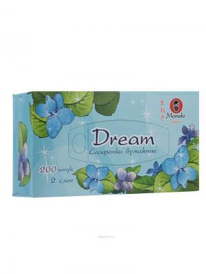 Салфетки бумажные Dream 2 слоя, 200 шт./коробка Maneki. Цвет: голубой