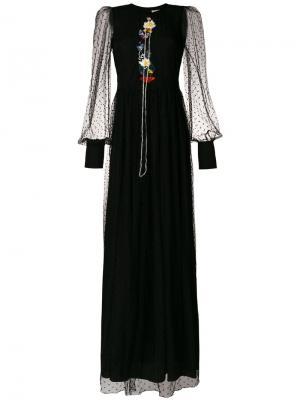 Платье макси с вышивкой Piccione.Piccione. Цвет: чёрный