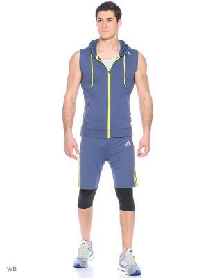 Толстовка с капюшоном Adidas. Цвет: синий, желтый