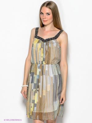 Платье Vero moda. Цвет: желтый, коричневый, голубой
