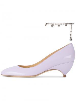 Туфли-лодочки из лакированной кожи с украшением на щиколотку X Avigail Liudmila. Цвет: розовый и фиолетовый