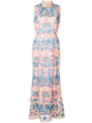Платье с цветочным узором Marchesa Notte. Цвет: розовый и фиолетовый