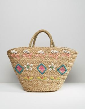 Hat Attack Соломенная сумка-тоут Seashell. Цвет: мульти
