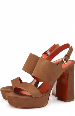Замшевые босоножки на устойчивом каблуке Santoni. Цвет: коричневый