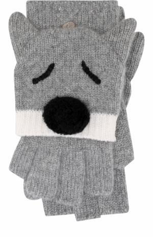 Кашемировые перчатки с декором Loro Piana. Цвет: серый