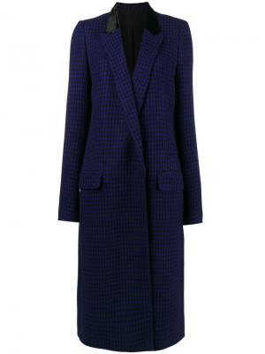 Пальто в ломаную клетку с бархатным воротником Haider Ackermann. Цвет: синий