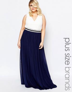 Forever Unique Plus Платье макси в греческом стиле с отделкой. Цвет: мульти